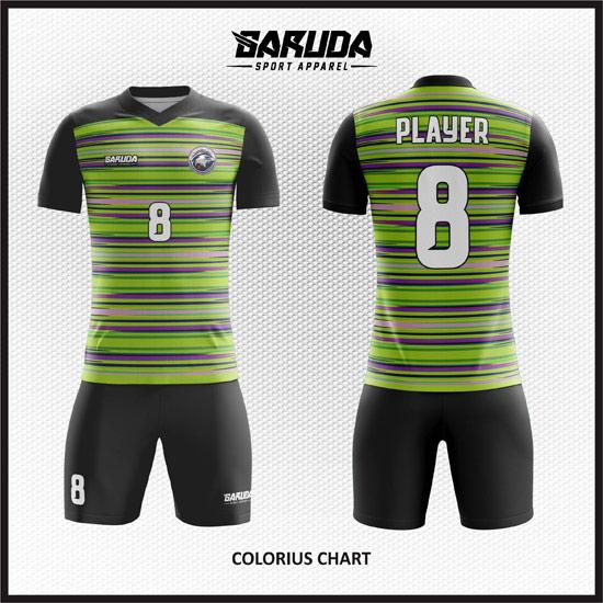 Desain Baju Bola Futsal Printing Warna Hitam Hijau Yang Fresh