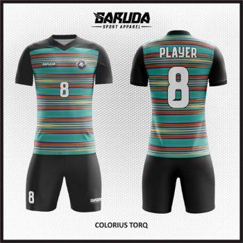 Desain Kaos Sepakbola Printing Motif Garis-Garis Warna Biru Hitam