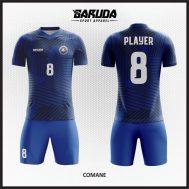 Desain Seragam Futsal Printing Warna Biru Simple Dan Berkelas