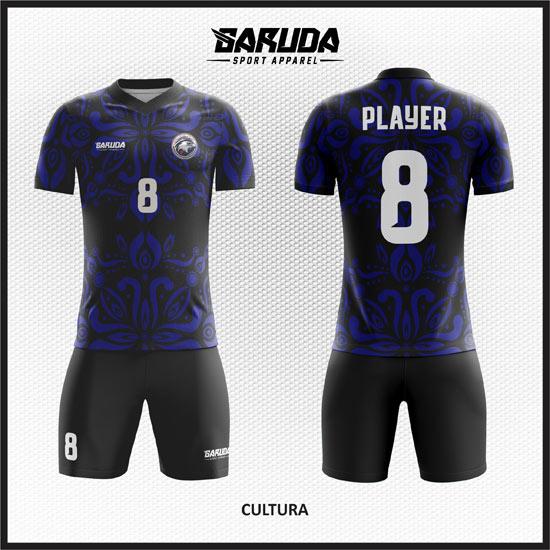 Desain Baju Futsal Full Print Motif Batik Warna Hitam Biru Natural