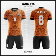 Desain Kaos Futsal Printing Warna Coklat Motif Etnic Batik