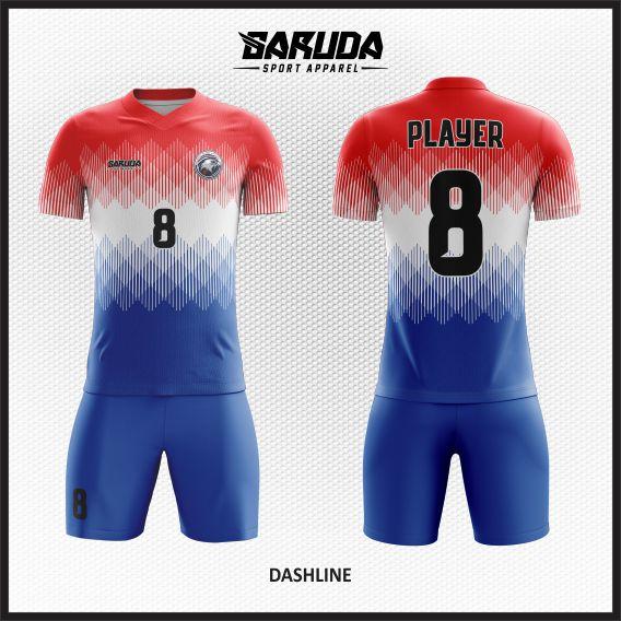 Desain Jersey Sepakbola Full Print Warna Merah Putih Biru Untuk Tampil Beda