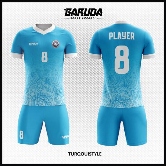 Desain Baju Futsal Printing Motif Batik Warna Biru Yang Fresh