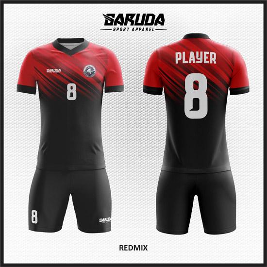 Desain Baju Futsal Printing Warna Merah Hitam Keren Banget