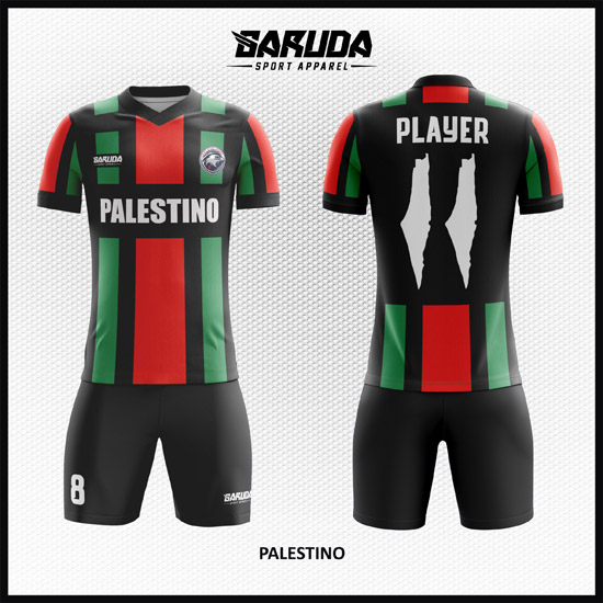 Desain Baju Sepakbola Printing Warna Hitam Merah Hijau Palestina