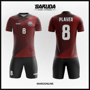 Desain Jersey Futsal Printing Warna Merah Maroon Motif Garis Minimalis