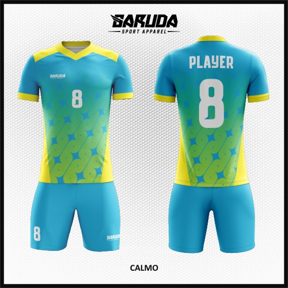 Desain Kaos Futsal Printing Motif Bintang Warna Biru Kuning