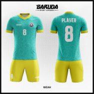 Desain Seragam Futsal Printing Warna Hijau Kuning Yang Lembut