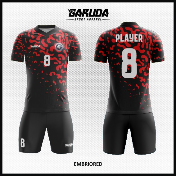 Desain Baju Futsal Full Print Warna Hitam Merah Tampil Beda