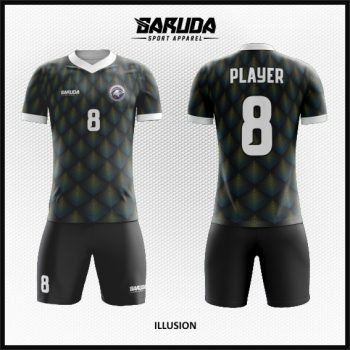 Desain Baju Futsal Motif 3D Warna Hitam Tampil Lebih Menawan