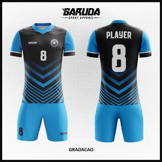 Desain Baju Futsal Printing Warna Biru Hitam Yang Elegan