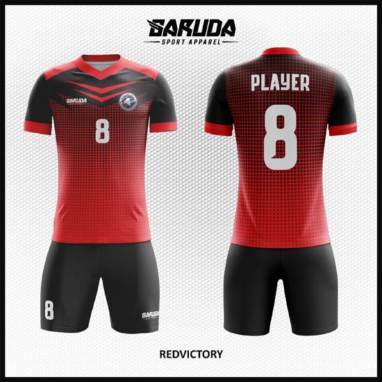 Desain Baju Futsal Printing Warna Hitam Merah Yang Solid
