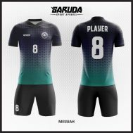 Desain Baju Futsal Warna Hitam Biru Minimalis Terbaru
