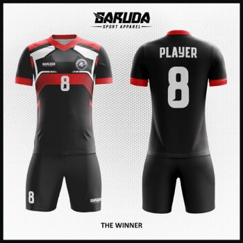 Desain Jersey Bola Futsal Warna Hitam Berkarakter Kuat