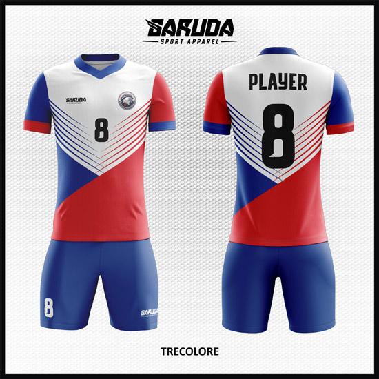 Desain Jersey Bola Futsal Warna Merah Putih Biru Tampil Lebih Stylish
