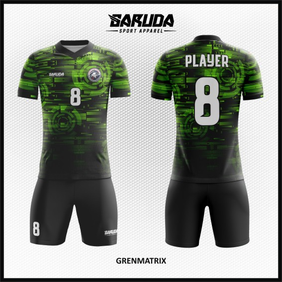 Desain Jersey Futsal Full Print Warna Hijau Hitam Modern