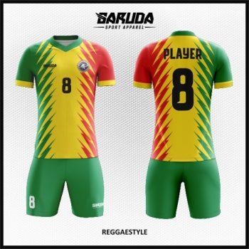 Desain Jersey Futsal Warna Kuning Hijau Merah Motif Reggae