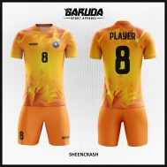 Desain Jersey Sepak Bola Printing Warna Orange Terbaru