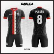 Desain Jersey Sepakbola Warna Hitam Strip Merah Putih Tampil Lebih Berani