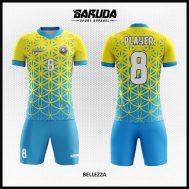 Desain Kaos Futsal Printing Warna Biru Kuning Paling Trendy