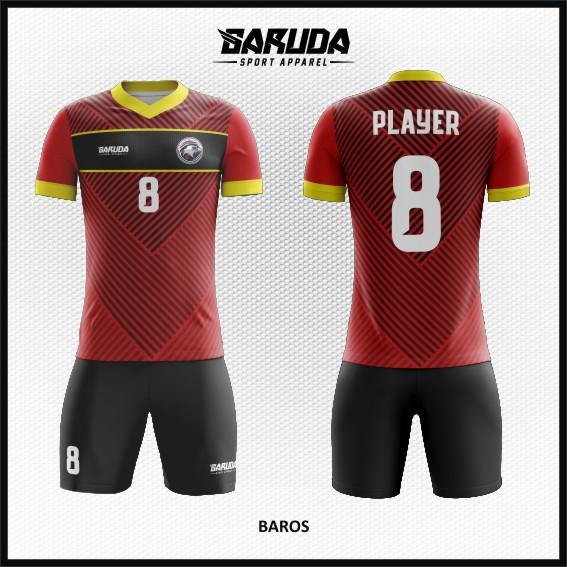 Desain Kaos Futsal Warna Merah Hitam Tampil Lebih Berkelas