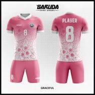 Desain Kostum Futsal Motif Kembang Warna Pink