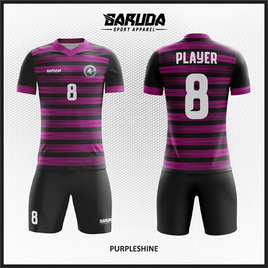 Desain Kostum Futsal Printing Warna Ungu Hitam Yang Menawan