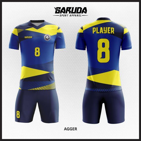 Desain Kostum Sepakbola Warna Biru Kuning Bergaya Trendy