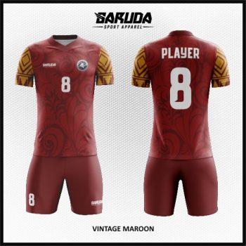 Desain Seragam Sepakbola Motif Batik Warna Merah Maroon