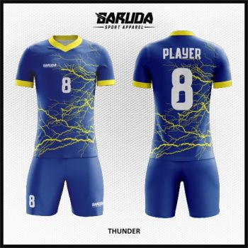 Desain Baju Futsal Motif Petir Warna Biru Yang Dinamis