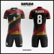 Desain Baju Futsal Warna Marun Hitam Yang Menawan
