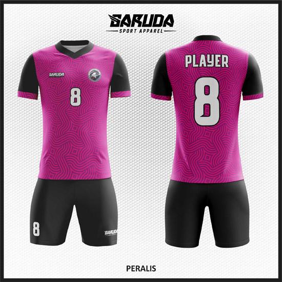 Desain Baju Futsal Warna Ungu Hitam Motif Bergelombang Kekinian