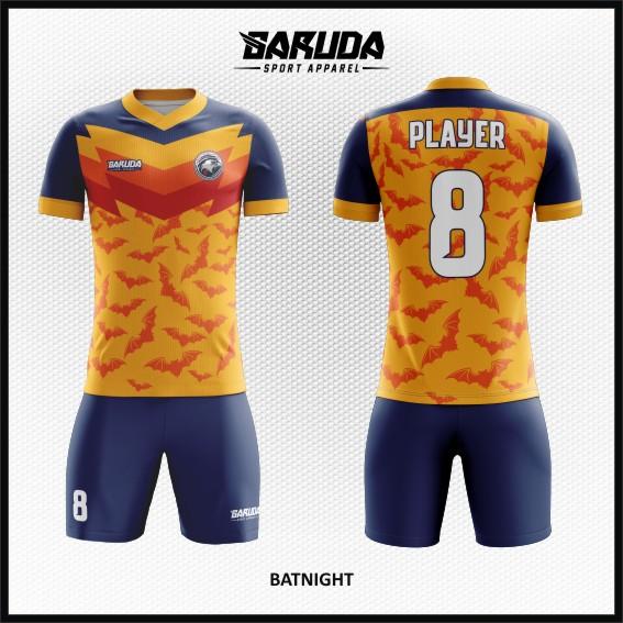 Desain Jersey Futsal Motif Kelelawar Warna Orange Biru