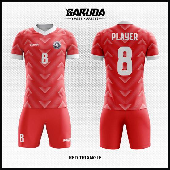 Desain Jersey Futsal Motif Segitiga Warna Merah Yang Trendy
