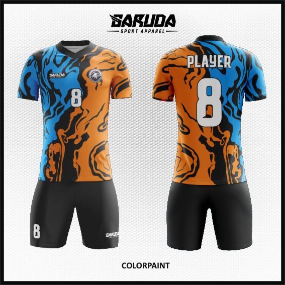 Desain Jersey Futsal Warna Biru Hitam Orange Motif Bergelombang