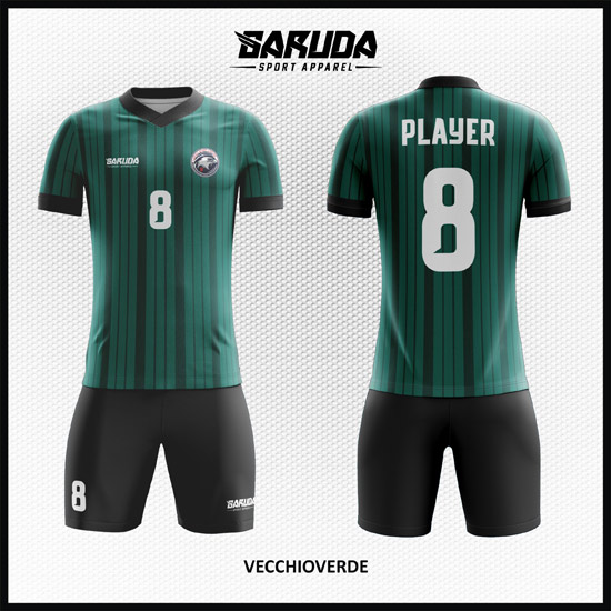 Desain Jersey Futsal Warna Hijau Dongker Motif Garis Vertikal