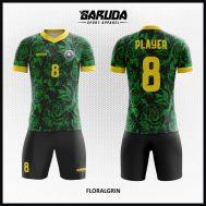Desain Jersey Futsal Warna Hitam Hijau Motif Bunga