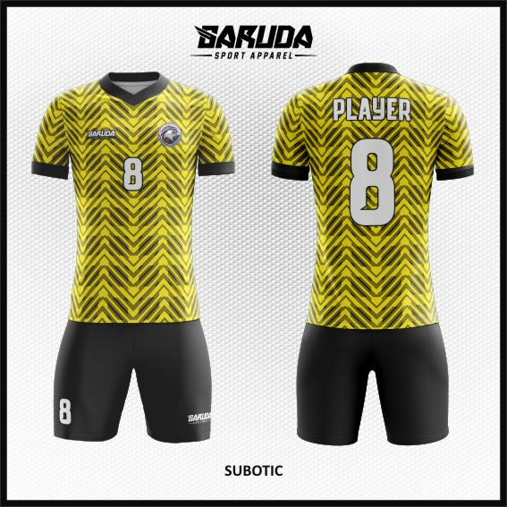 Desain Kaos Bola Warna Kuning Hitam Bergelombang Bergaya Stylish