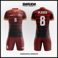 Desain Kaos Futsal Warna Maroon Motif Garis Horizontal