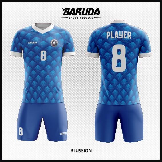 Desain Kostum Futsal Motif Diamond Warna Biru Terbaru