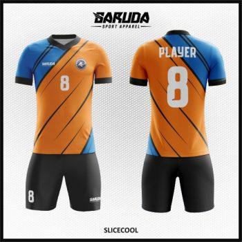 Desain Kostum Sepakbola Printing Warna Biru Orange Minimalis