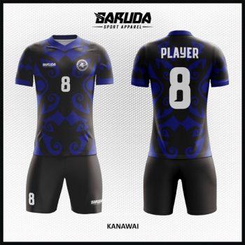 Desain Kostum Sepakbola Warna Biru Hitam Motif Etnik Yang Unik