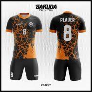 Desain Kostum Sepakbola Warna Hitam Orange Tampil Beda